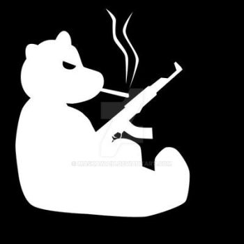 Smoking Bear with AK-47 by maskawaih