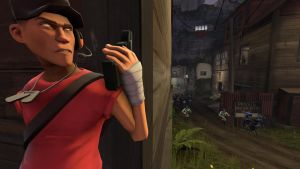 Team Fortress 2: Scout recon on the BLU base by Yukimare