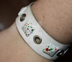 White Studded Wristband by ThatFreakYouHate