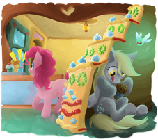 Derpy at the Sugarcube Corner by LeavingCrow