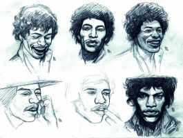 hendrix head studies by bordon