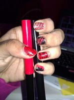 Red and Black Nail Design by EternalArtGirl740