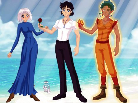 Sophie, Howl, and Calcifer by L-sama-no-miko