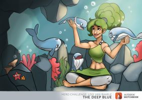 The Deep Blue: Tiny Whales and the Girl Underwater by Spodness