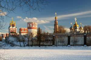 The Novodevichy Convent. Winter evening. by Nickdan