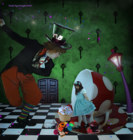 The Mad Hatter and Alice by MysticSerenity