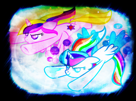 Friendly Competition with my REAL SIS by RainbowShine-Mlp