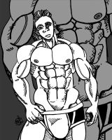 Men muscle ink drawing by Tomiko2011