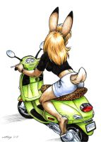 Candi on a Green Vespa by Dustmeat