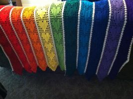 Hearts Rainbow Afghan, Full view by Arexandria
