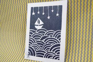 Sailboat and Stars ACEO by quirkandbramble