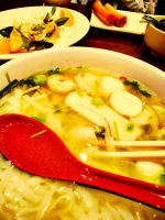 Seafood Pho and Spring Rolls by Maraschino-Nine