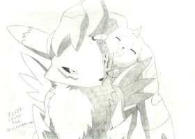 Renamon and Terriermon drawing by Crimson-Flazey