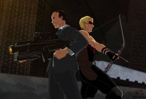 Agent Coulson and Hawkeye by lantern7