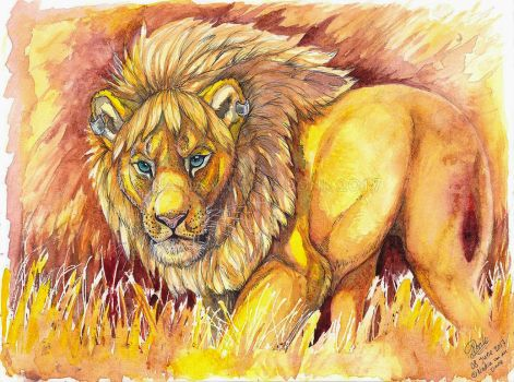 Watercolor - Golden Lion by NadiavanderDonk
