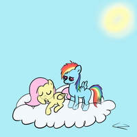 Fillyshy and Rainbow by brentsienna