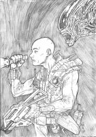 Alien marine - A4 pencil by IgorChakal