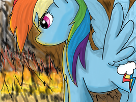 Rainbow Dash in Midst of Fire by anname219