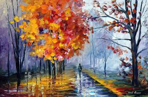 October Fog by Leonid Afremov by Leonidafremov