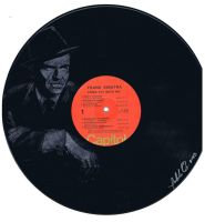 Hand painted portrait of Frank Sinatra on LP by CyclopticSpider