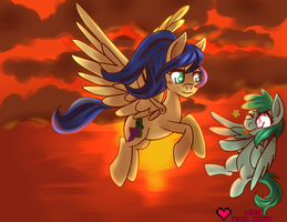 Wineberry and Melody flying commission by ladypixelheart