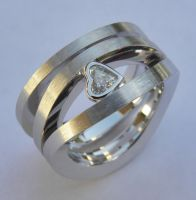 Ring with Diamond Heart by orfeujoias