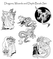 Dragons and Such Brush Set by PhoenixWildfire