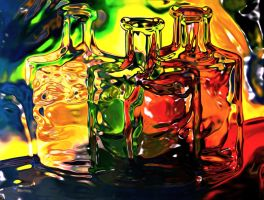 Molten Glass Bottles by znkf0908