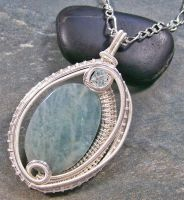 Woven Oval Aquamarine and Silver Pendant by HeatherJordanJewelry