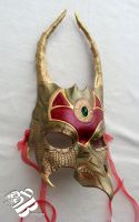 Bronze/Green Dragon Leather Mask by b3designsllc