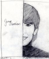 George Harrison half-face by harrimaniac27
