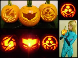 Metroid Pumpkin trio by Zadra