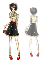 Fashion Sketch - Dots by Pekochu