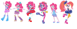 Pinkie Pie Fashion Lineup (human form) by Obeliskgirljohanny