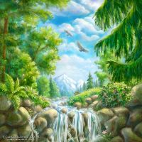 Landscape with small waterfall by rosinka