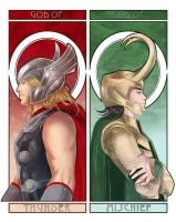 Thor and Loki by Brogan-Coral