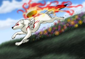 Amaterasu running by Zerwolf