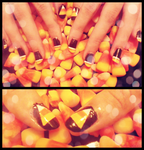 Candy Corn Nails by wondering-souls