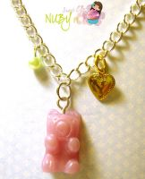 Grape gummy bear bracelet by colourful-blossom