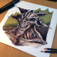 Monster done with Markers by AtomiccircuS