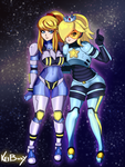 Commission: Rosalina and Samus by Keiboxy2
