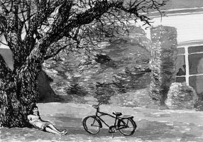 Bicycle and tree shade by Teodorak
