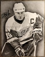 Steve Yzerman Charcoal by ashleymenard122