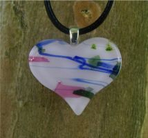 Pink Patch Heart Fused Glass3 by FusedElegance