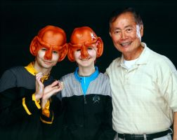 Two Ferengi and George Takei by AlisaDidkovsky