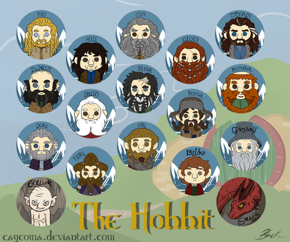 The Hobbit buttons by caycowa