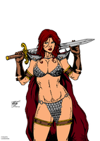 Red Sonja   Pencil   By Leo Matos By Ed Benes Stud by leoelectronix