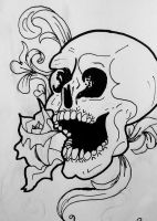 skull and filigree by sideways-saint