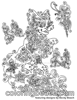 Printable Swirly Kitty Coloring Page by Sirenz