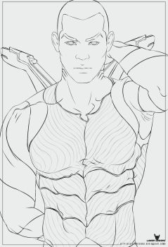 Young Justice AquaLad Line Work by LaikenDesignz